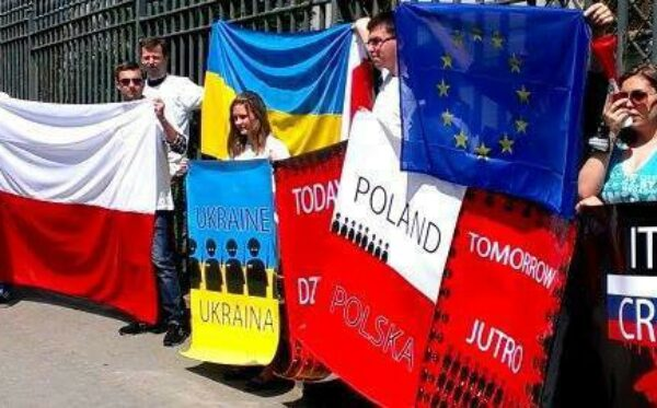 Ukraine Yesterday, Poland Tomorrow. Manifestation in front Russia's Embassy
