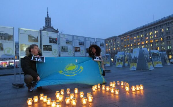 The opening of the photo exhibition 'Zhanaozen – Maidan: The chronicle of protests, suppressed by shooting'