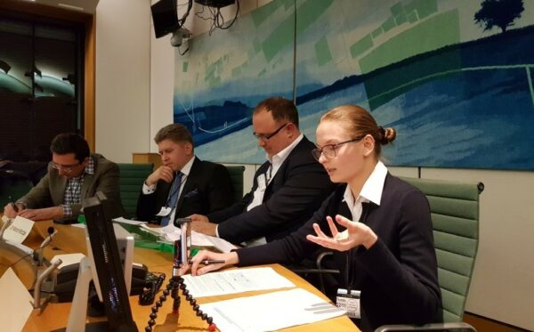 Lyudmyla Kozlovska speaks at the UK House of Commons on the rule of law in Poland
