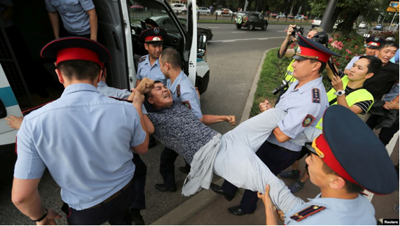 6 July 2019. Detaining a man in Almaty. Photo: Reuters.