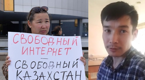 Detained activists  Anna Shukeeva and Zhanibek Zhunusov . Photos: Facebook-pages of activists.
