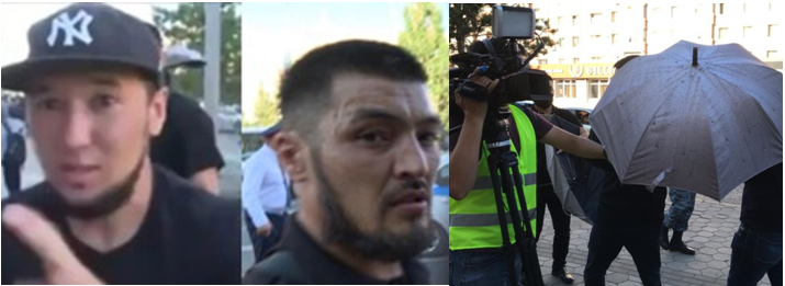 """""""Titushky"""": Azamat Shaykemelov (on the left) and Zhiger Abilov (on the right). They were among those who used umbrellas to prevent journalists from filming. Photo: print screen from the video belonging to Radio Azattyk."""