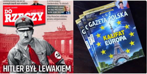 "Covers of right-wing weeklies, titles read ""Hitler was a leftist"" and ""Caliphate Europe"""