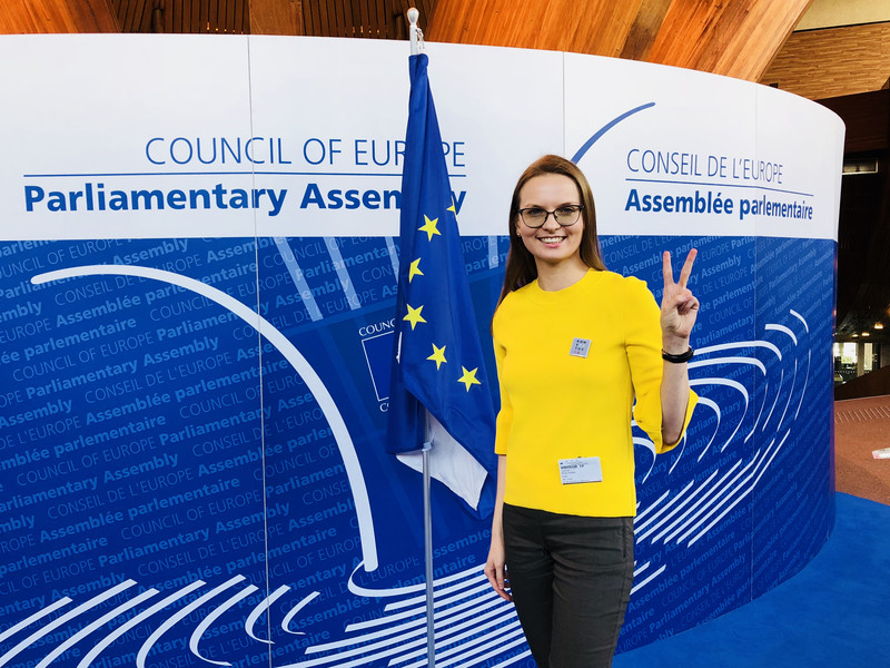 Lyudymyla Kozlovska in Strasbourg last week - defying attempts by the Polish government to bar her from Schengen countries. Source: euobserver.com